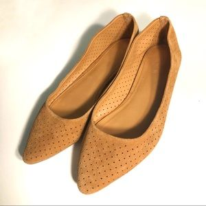 J. Crew Pointed Toe Tan Microsuede Flats
